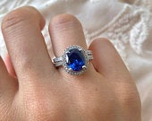 Wedding Jewellery Set, Sapphire Engagement Ring, Bridal Ring Set, Eternity Band 2 Carat Solitaire, Anniversary Ring, 100% 925 Silver