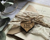 Rustic Wedding Invitation lace Wedding Stationery Rustic Wedding Invites Lace Engraved Wooden Heart