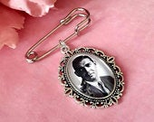 Groom memory photo silver coloured lapel pin, tie pin keepsake gift, groomsmen boutonniere photo charm gifts. DIY kits available.