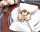 Wedding favours, Autumn wedding, Fall wedding, Personalised wedding favors, Name place cards, Wedding place setting. Wooden