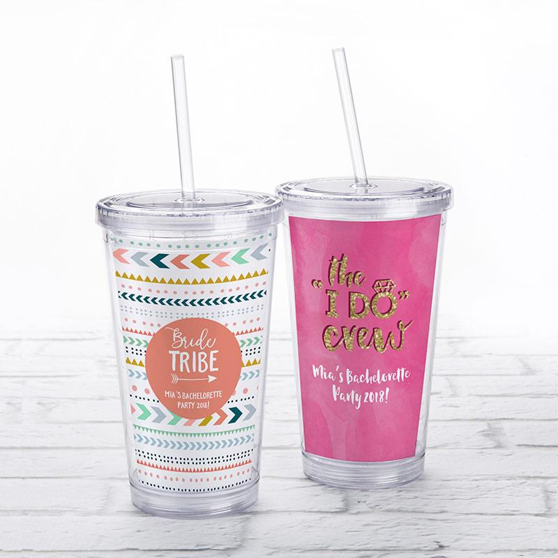 Bachelorette Acrylic Tumbler with Personalized Insert   My Wedding Favors
