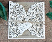 Rustic Wedding Invitation Floral Laser Cut DIY Kit Kraft Bohemian Wedding Boho Wedding Invite Affordable Barn Wedding Twine Ribbon