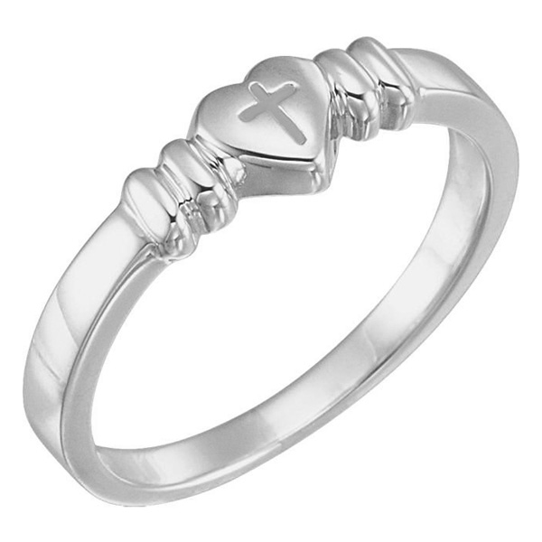 Chastity Cross Heart Ring in Sterling Silver