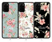 Personalised Floral Samsung Galaxy S20 Case S20 Plus Case S20 Ultra Case Custom Flower Initials Name Samsung Case Rubber Phone Case Blue