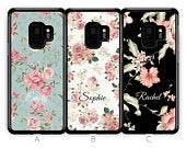 Personalised Samsung Galaxy S9 Case S9 Plus Case S8 Plus Case Custom Floral Flower Initials Name Samsung Case Rubber Phone Case Blue