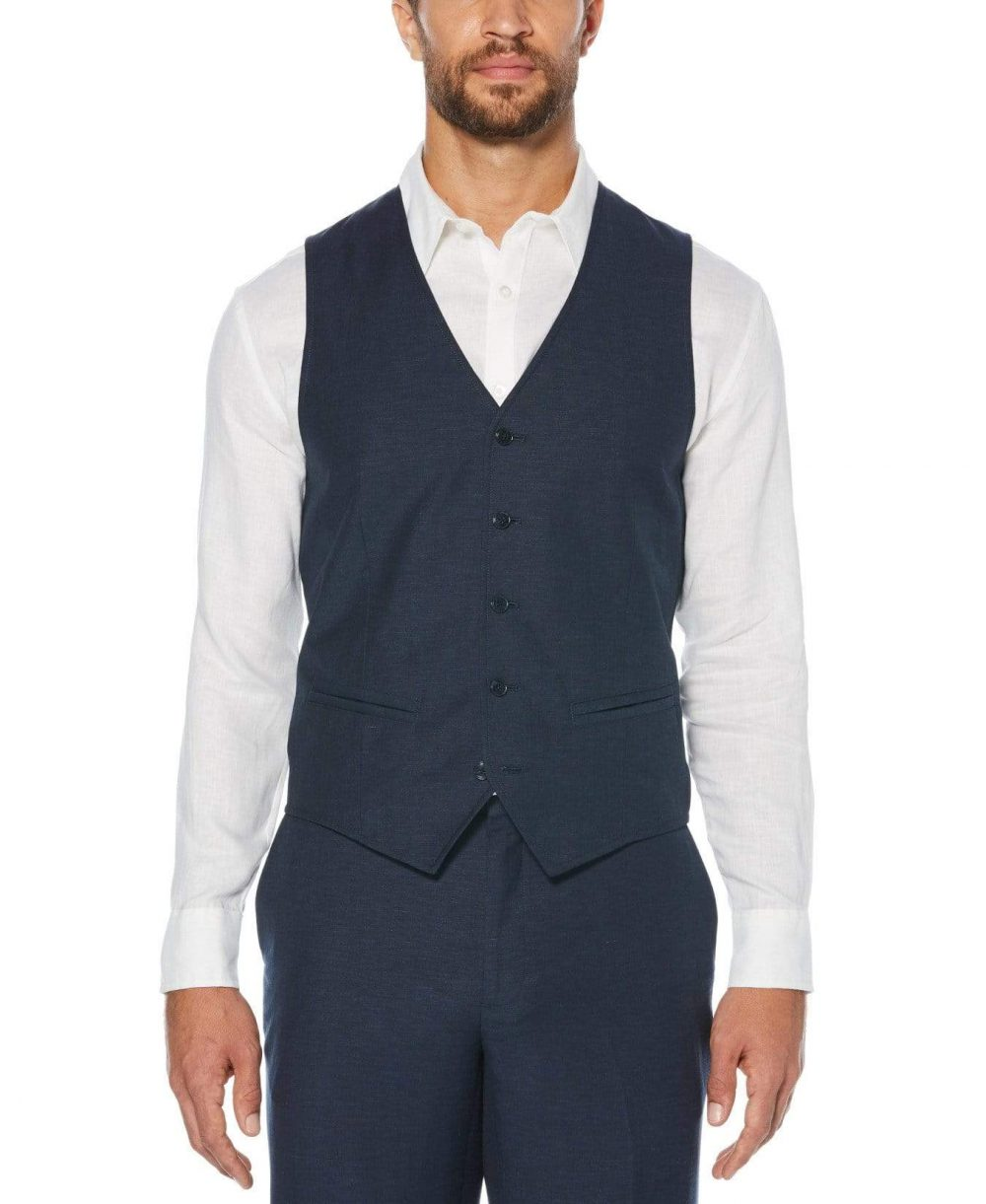 Cubavera Men's Linen-Blend Vest (Dress Blues) - Size S
