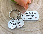 This Daddy Belongs To..., Daddy, Dad Keyring Keychain Hand Stamped Personalised, Fathers Day Gift, Daddy, Father, Grandad Gift