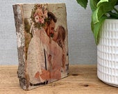 Freestanding Log Slice Wooden Photo Plaque made from natural wood sourced in the UK