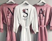 Floral Bridesmaid Robe, Personalised Wedding Dressing Gowns, bridesmaid robes Bridal Party Robes, bridal robes, floral lace satin robes
