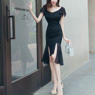 Ruffle Short-Sleeve Sheath Party Dress