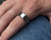 Mens Ring Silver Polished Band Ring Mens Stainless Steel Ring Mens Jewelry Gift for Him