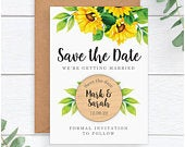 Sunflower Wedding Save The Date Cards Magnets PERSONALISED Rustic Wooden Save The Date Fridge Magnet Yellow Sunflower Save The Dates