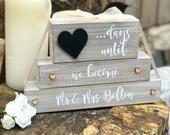 Wedding countdown block Mr Mrs Mr and Mr Mrs and Mrs countdown engagement gift days until weeks until rustic wooden plaque block sign