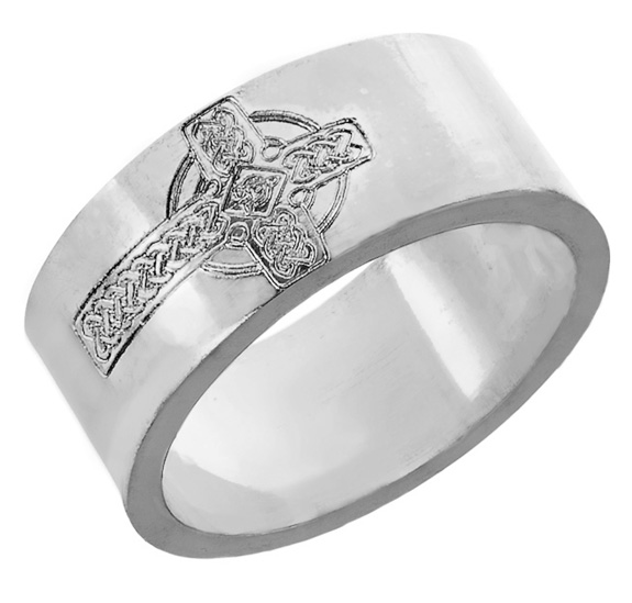 Men's Sterling Silver Celtic Cross Etched Wedding Band Ring