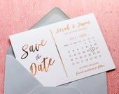 Foil Save the Date Calendar Cards, Modern Wedding Invites Invitations, (Gold, Rose Gold, Silver Foil) Custom Save the Dates FREE envelopes