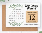 PERSONALISED Eucalyptus Wedding Save The Date Fridge Magnet Greenery Save The Date Calendar Rustic Wooden Save The Date Card Magnet
