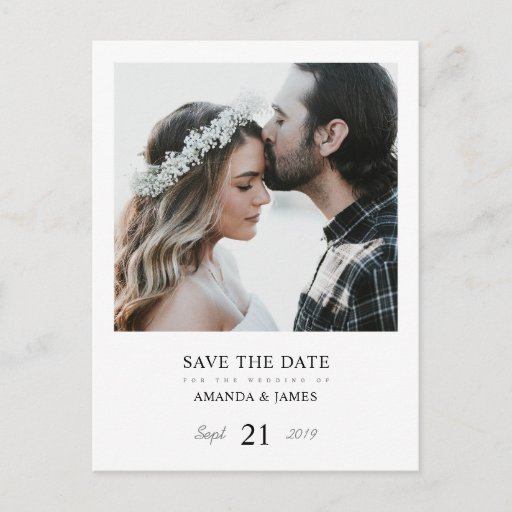 Simple Chic Photo Custom Wedding Save the Date Announcement Postcard