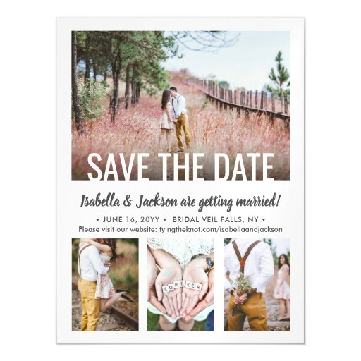 Save the Date Magnets 4 Photo Modern Wedding