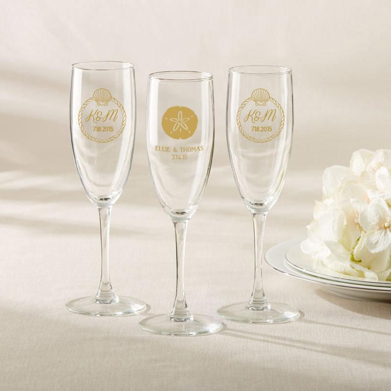 Personalized Beach Tides Champagne Flute