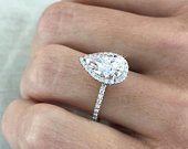 Pear Cut Halo Forever Moissanite Engagement Ring 1 1/2 Ct /96mm/ 14k White Gold, Genuine UK Hallmark Wedding Diamond Halo Celebrity Ring.