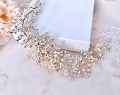 Gold hair comb Bridal hair accessories Crystal hair comb Bridal head piece Wedding hair piece Back hair comb Pearl hair peace Back hair comb