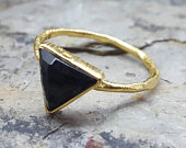 Gold Ring. Triangle Ring. Geometric. Gemstone BLACK Onyx. InkaCreations. ARROW. Gift for woman. Mother. Wedding. Party.Bespoke