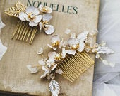 Floral Hair Comb, Gold Hair Comb, Gold Leaf Hair Comb, Pink Flower Gold Hair Comb, Wedding Tiara, Tiara for Bride, Flower Girl Headband