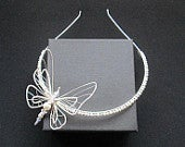 NEVEAH: Handcrafted Butterfly Tiara with Swarovski Pearls and Crystal by Elyshia Designs. Wedding hair piece.