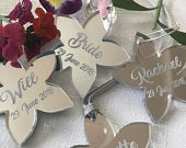 Personalised Silver Mirror Flowers Wine Glass Charms Wedding Party Favours Place Settings Birthday Gift Tag Keepsake Christmas
