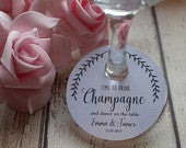 Personalised Wedding wine glass tags/charms Time to drink champagne.....