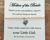 Mother of the Bride, Gift From Daughter, Pearl Bracelet, Today A Bride, Tomorrow A Wife, Wedding Party Jewellery, Traditional Wedding