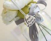 Mother of the Bride personalised stacked hearts necklace customised gift wedding party bridal party present Mum Mummy