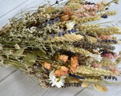 Dried flower Wedding bouquet. Summer Pink roses Lavender Wheat grass Canary grass Sea Lavender Delphinium Paper white flowers Gyp