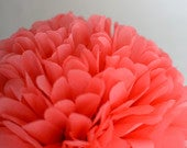 Coral rose Paper pom pom Living coral decor Paper flowers Birthday decorations