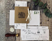 Passport Boarding Pass Wedding Invitation, Travel Wedding Invite, Wedding Abroad, Vintage Wedding, Rustic, Plane Ticket