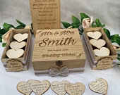 Wedding Guest Book Alternative Drop in Wish Box Wishes Wood Rustic Vintage Wedding