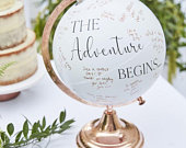 Rose Gold Globe Guest Book Alternative, Wedding Guest Travel Globe Guest Book, Hen Party Bridal Guestbook, Baby Shower Wishing Jar
