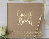Kraft Gold Guest Book, Gold Foiled Kraft Wedding Guestbook, Wedding Guest Book, Kraft Party Guest Book, Kraft Gold Baby Shower Guest Book