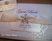 Crystal Snowflake Wedding Guest Book. Various Colour Options for Satin Ribbon