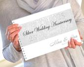 Personalised Silver Wedding Anniversary Guest Book, 25th Anniversary Guest Book