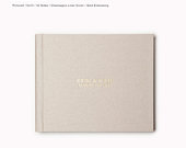 Champagne linen lay flat guest book Gold Lettering Gold emboss Deluxe linen Lay flat Instax Polaroid Guest Book