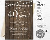 40th Wedding Anniversary Party Invitation INSTANT DOWNLOAD Editable Digital Template. Any Years of Marriage. Rustic Wood White. DIY