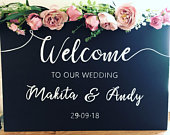 Personalised welcome to the wedding chalkboard sign hand written chalk pen