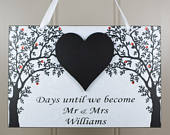 PERSONALISED Mr and Mrs Wedding Countdown Chalkboard Heart Handmade Wooden Diamante Home Sign/Plaque Engagement Gift 641