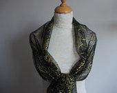 Gold and black glitter spiderweb wrap shawl scarf for Halloween, bridesmaids, Goth weddings. UK seller