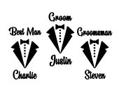 Personalised Name 2.5 High Groom Wedding Stag Party Decals. Tux Bow Tie Groomsmen Stickers. Whisky Glass. Hip Flask. Pint Glass. Gifts