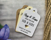 Personalised Hugs Kisses from the new Mr and Mrs Tag Wedding Alcohol Favour Tags We tied the knot Gin Thank You special day Hen HK119a
