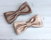 Mens Bow Tie, Taupe Bow tie, Neutral Satin Solid BowTie, Bow Tie for Wedding, Bow Tie for Groom Groomsmen, Kid Bow tie, Baby Bowtie