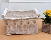 White Shabby Chic Rustic Vintage Wicker basket WEDDING CRATE CARDS Box Handmade Bunting