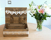 Beautiful Handcrafted Handmade Shabby Chic Wooden Rustic Vintage WEDDING SUITCASE CARDS Box Bunting